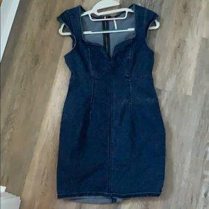 Free people fitted denim  mini dress